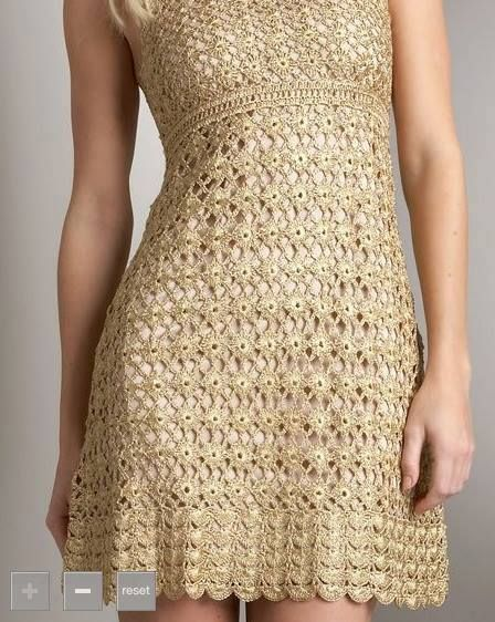 Patrón #739: Como tejer Vestido Dorado a Crochet http://blgs.co/OHB86o