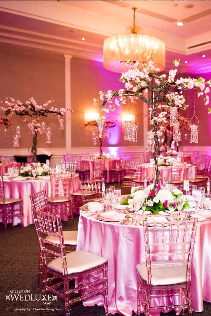 Pink Themed Reception With Mini Cherry Trees As Centerpieces