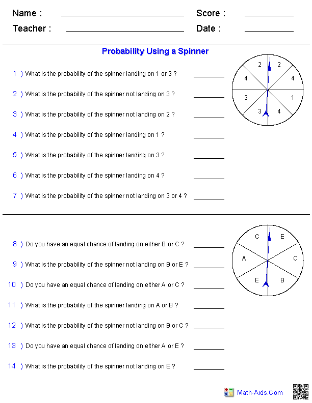 probability worksheets using a spinner math aids com pinterest probability worksheets. Black Bedroom Furniture Sets. Home Design Ideas