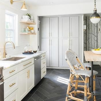Unique White and Gold Kitchen with Black Herringbone Floor Tiles Photos - Cool black and white tile floor kitchen Photo