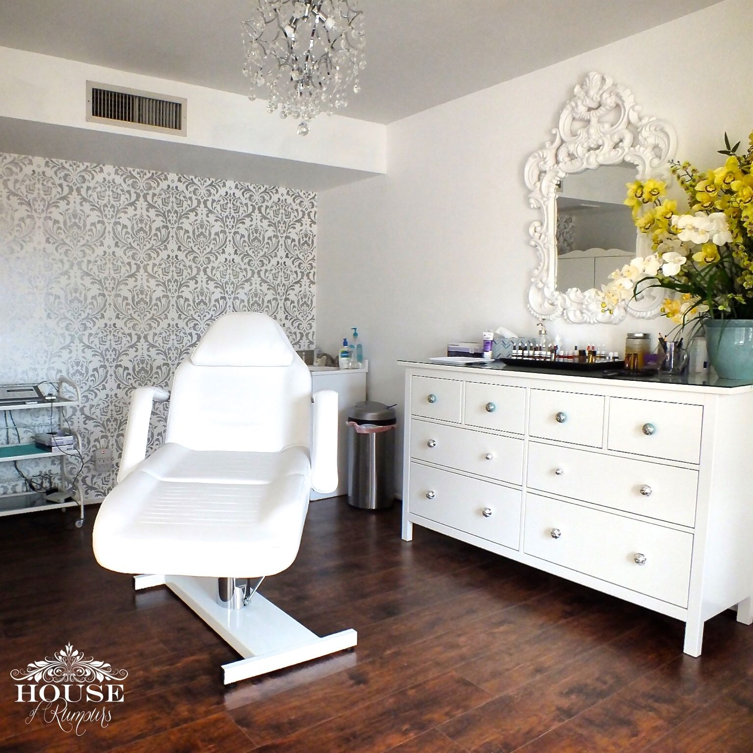 Anna damask stencil contemporary cosmetic salon cutting edge cutting edge stencils shares a diy stenciled accent wall in a salon using the anna damask stencil in metallic silver and white amipublicfo Gallery