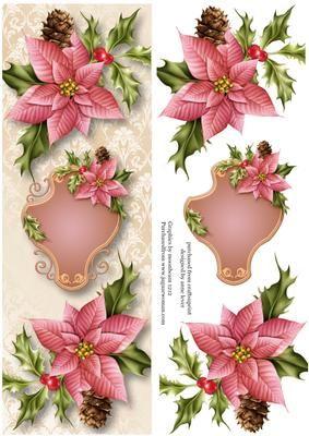 large dl pink poinsettias christmas weihnachten. Black Bedroom Furniture Sets. Home Design Ideas