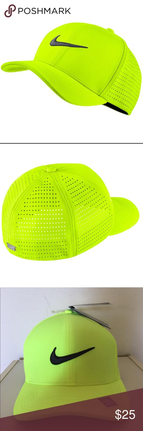 Nike Classic99 Perforated Golf Hat L Xl Volt Nike Fashion Nike Nike Swoosh Logo