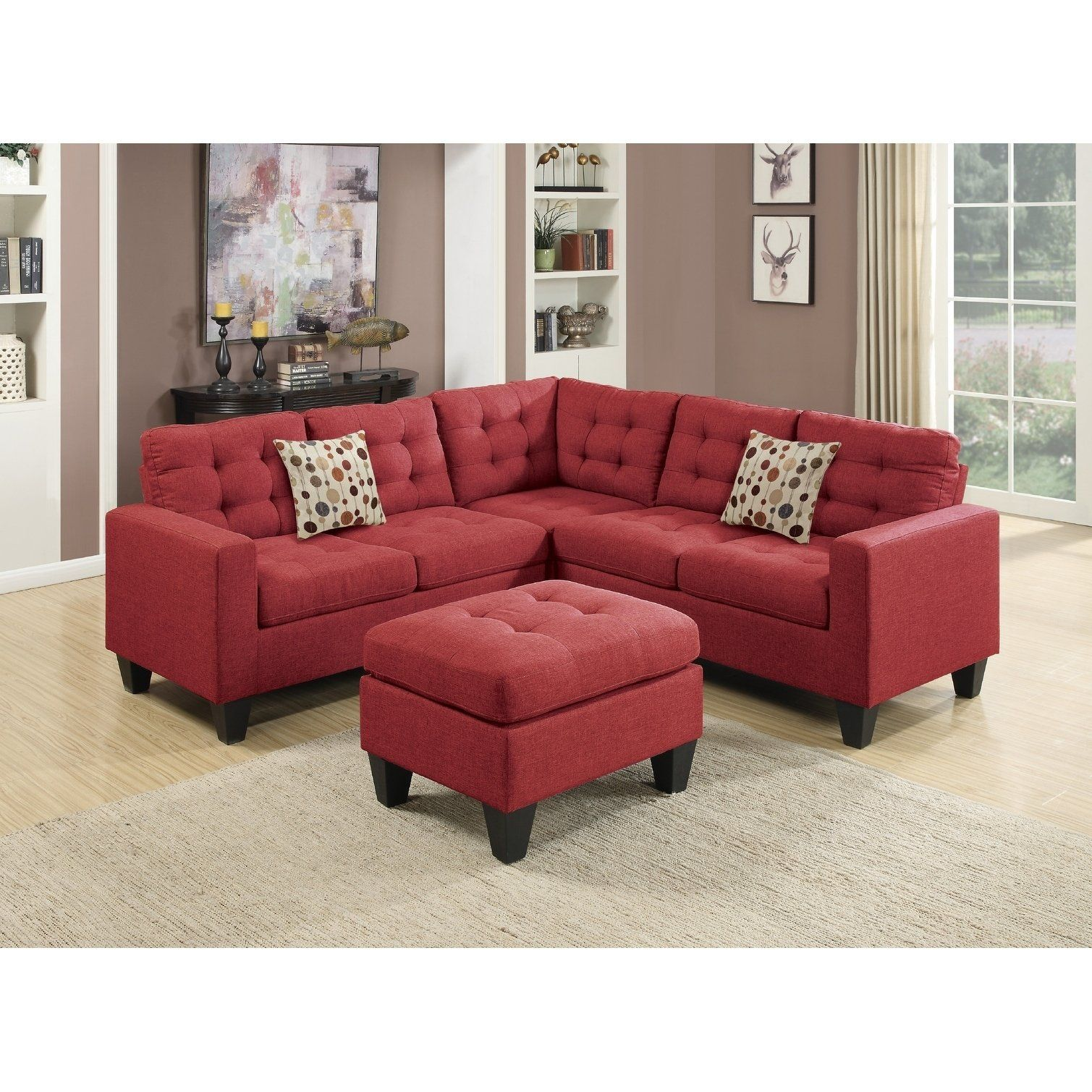 Sectional With Ottoman Red Assembly Required Red Linen