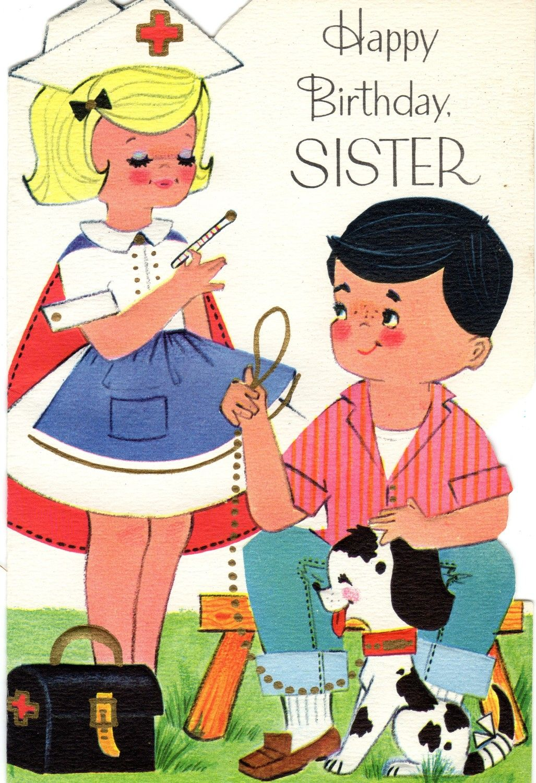 Birthday Card To SISTER Nurse Dalmation Vintage NOS 1960s Era Happy Greetings