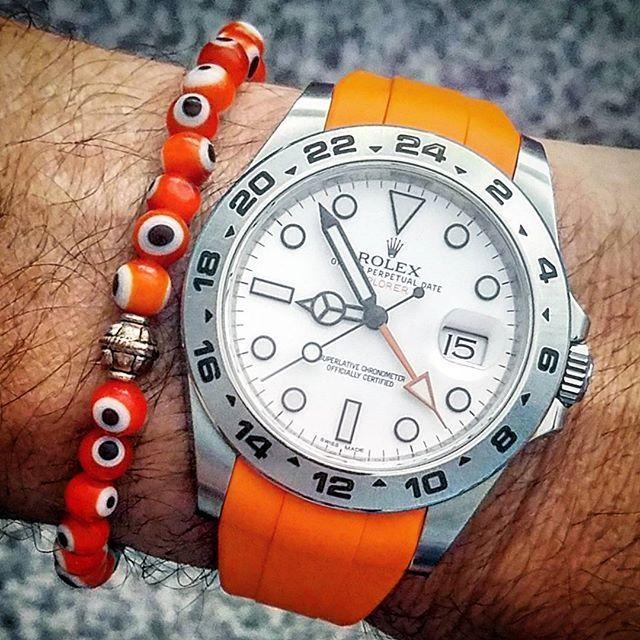 @alignycjewels #evileye #rubberb #volcanicorange #216570 #42mm #explorerii #rolex #watchporn #watchnerd #dailywatch #instawatch #watchfam #wristi #watchcollector #wis #armcandy #swissmade #onpoint #mensfashion #mint #rolexexplorerii