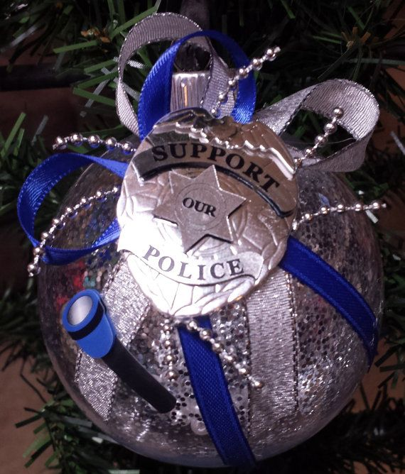 police christmas ornament flashlight badge by beautifulballs
