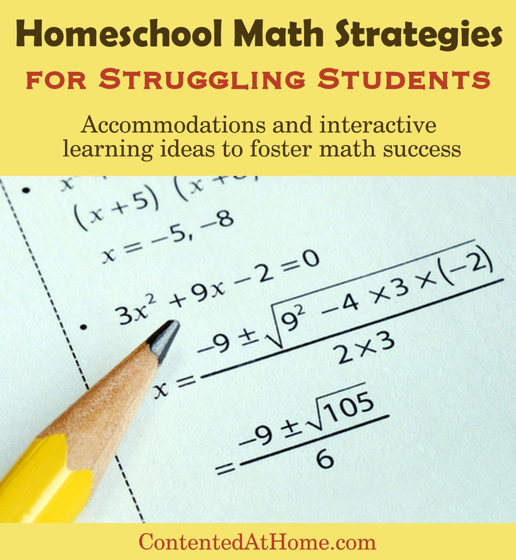 Homeschool Math Strategies for Struggling Students | Math strategies ...
