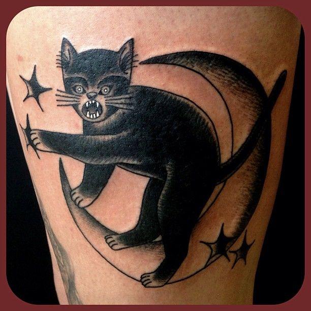 Cats Moon Cat Catmoon Tattoo Traditional Cats Meow Tattoos Cat Tattoo Tattoos Animal Tattoo