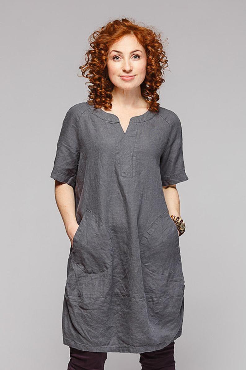 Boho style pure linen tunic #linentunic