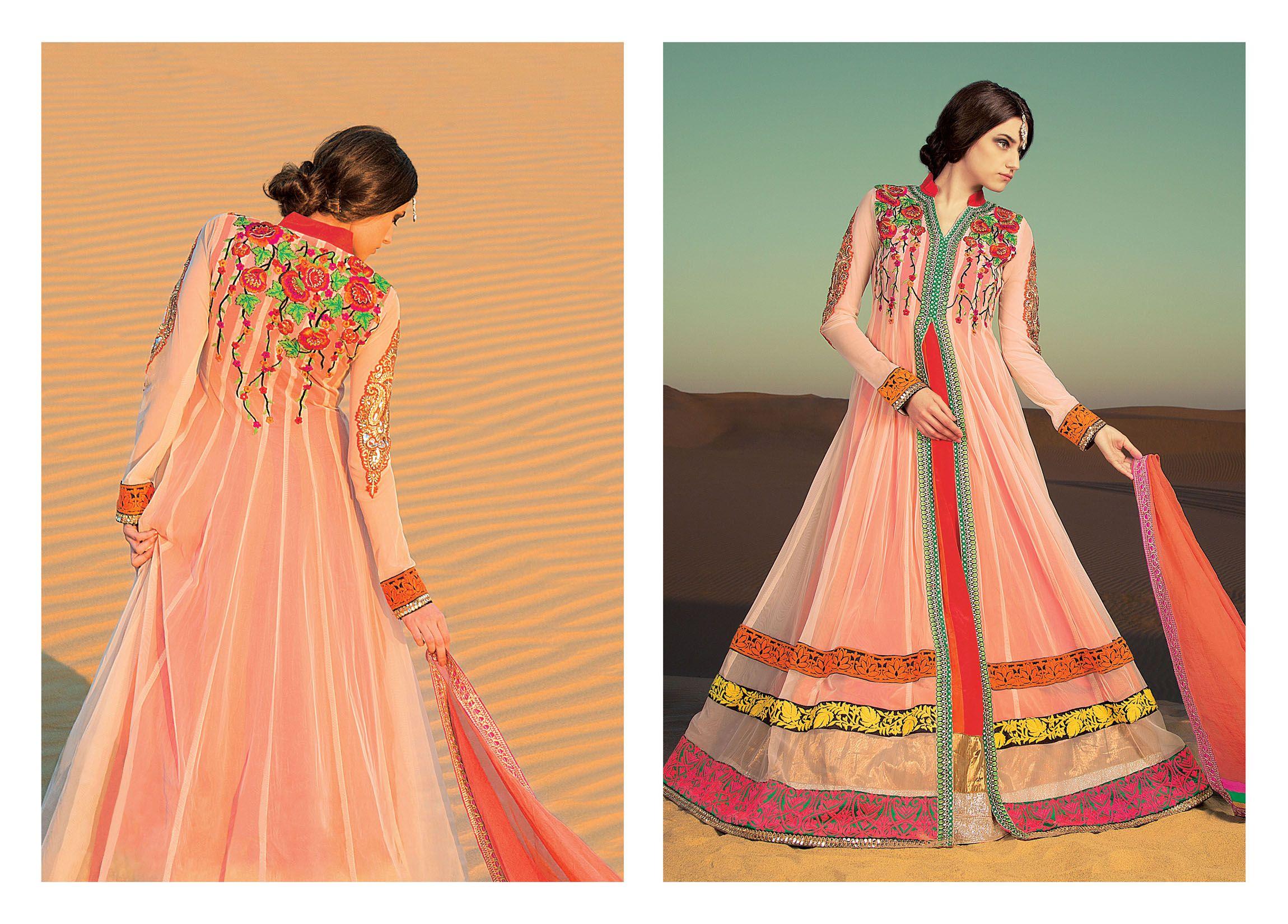 Designer salwar kameez mesmeric peach color net designer suit - Long Anarkali Indian Bollywood Wedding Designer Bridal Salwar Kameez Suit Dress Fabric Net Suit With
