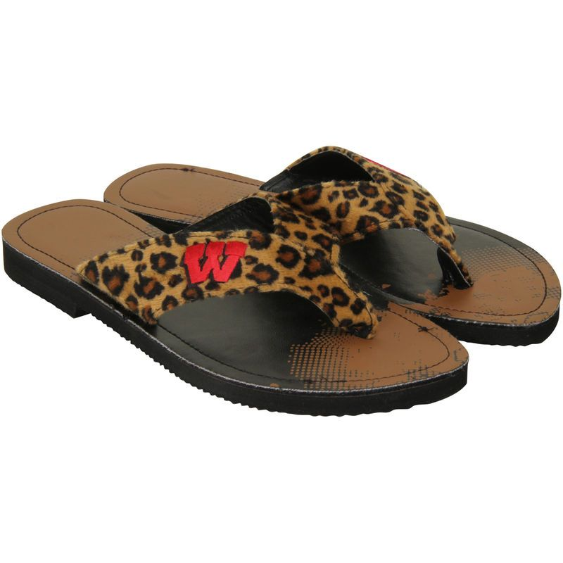 Wisconsin Badgers Women's Cheetah Strap Flip Flops