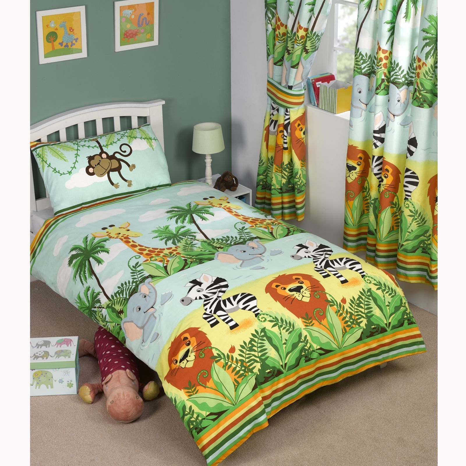 Jungle Friends Double Reversible Duvet Cover and Matching Pillowcase Set