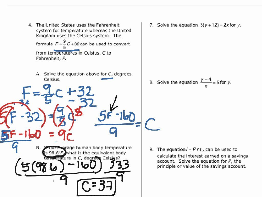Solve Literal Equations Worksheet Inspirational Solving