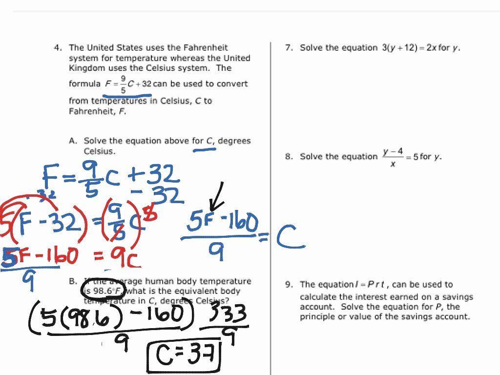Solve Literal Equations Worksheet Inspirational Solving