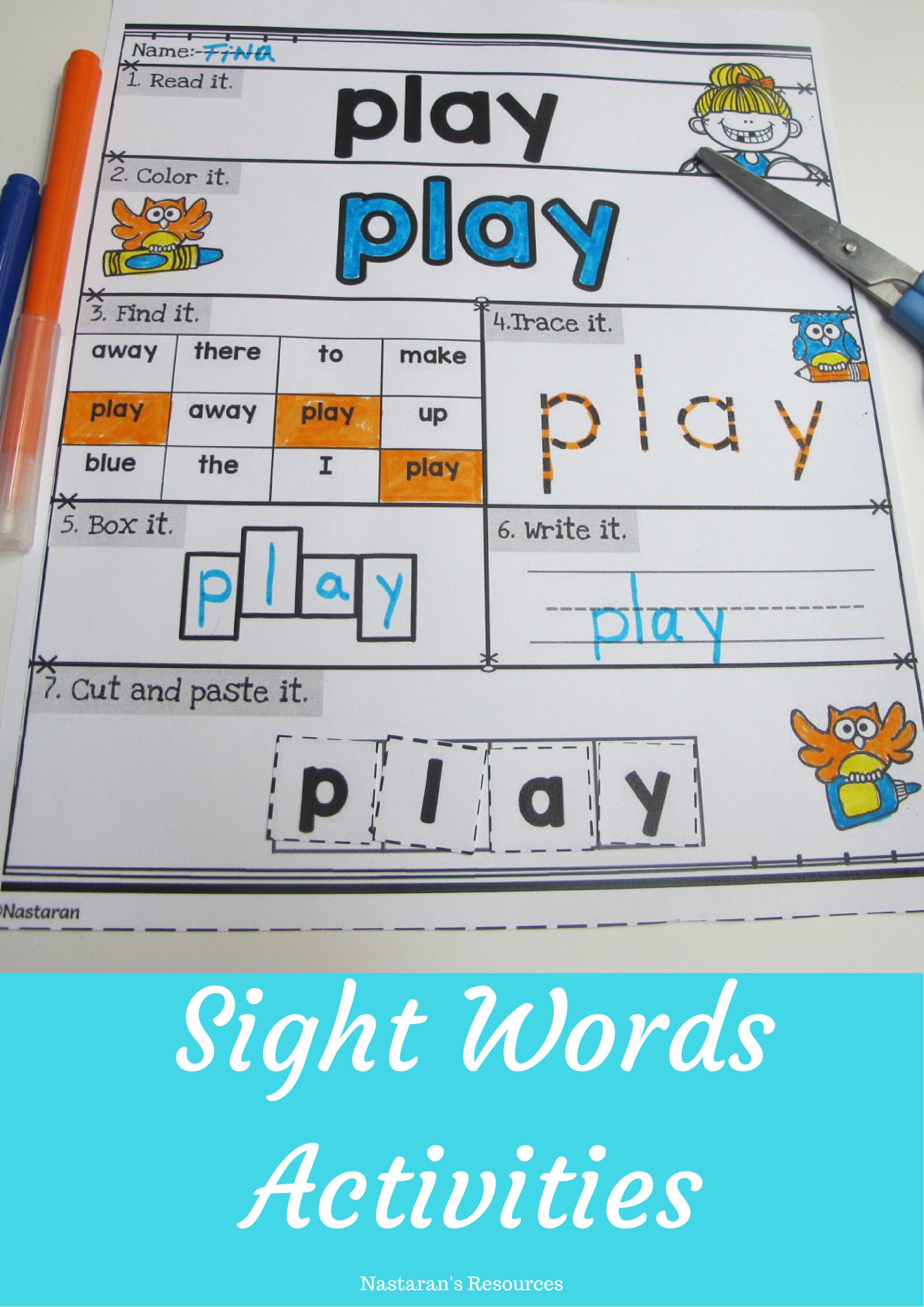 Sight Words Worksheets Assessment Pre Primer