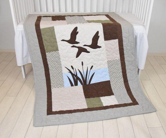 Wunderbar Duck Baby Quilt Hunting Theme Crib Bedding, Hunter Nursery, Woodland Crib  Bedding For Baby Boy, Forest Blanket, Gray, Green, Beige, Brown | Baby |  Pinterest