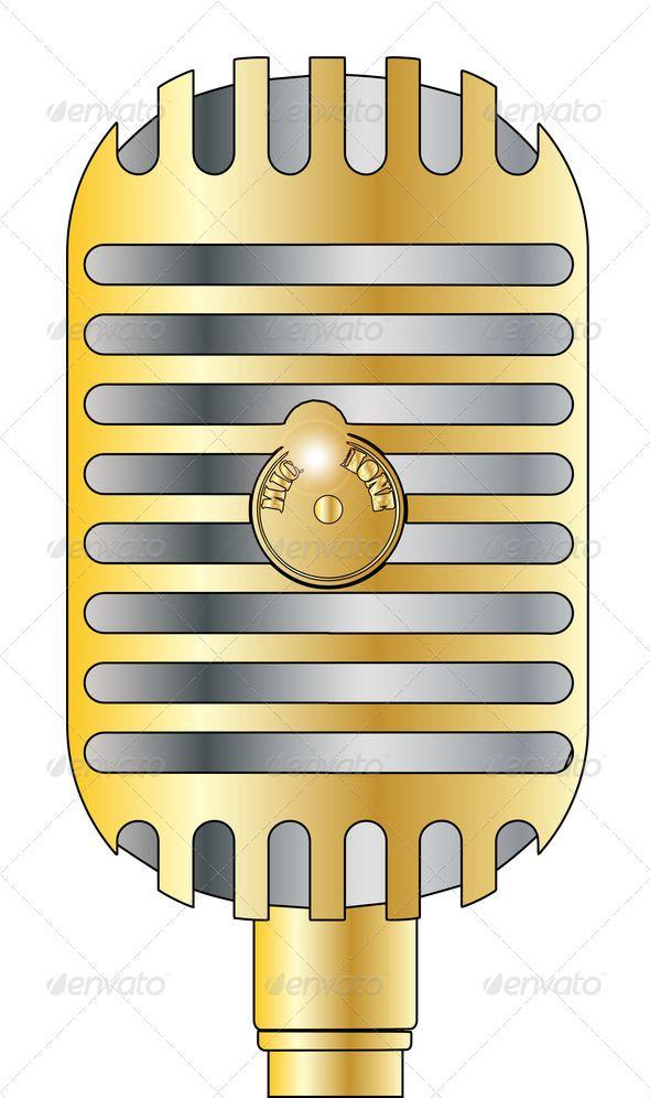 golden microphone art artwork