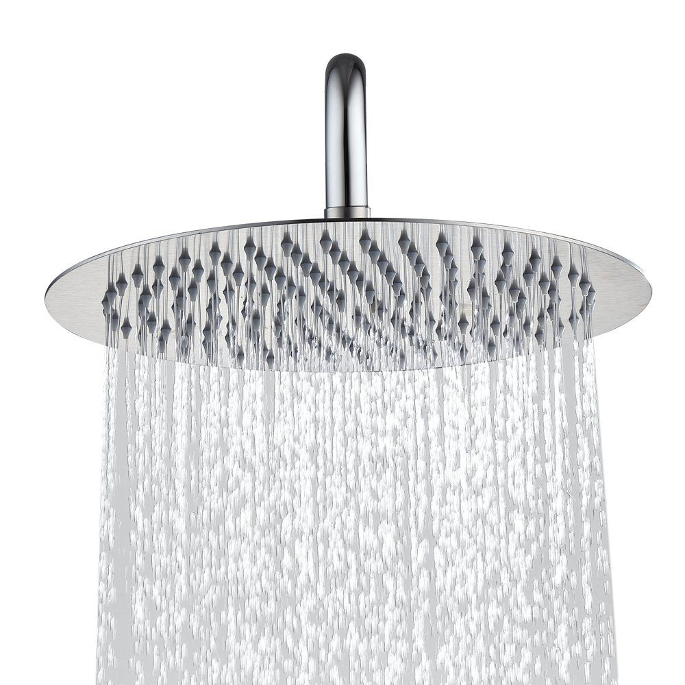 Derpras 16 Inch Square Rain Shower Head 304 Stainless Steel