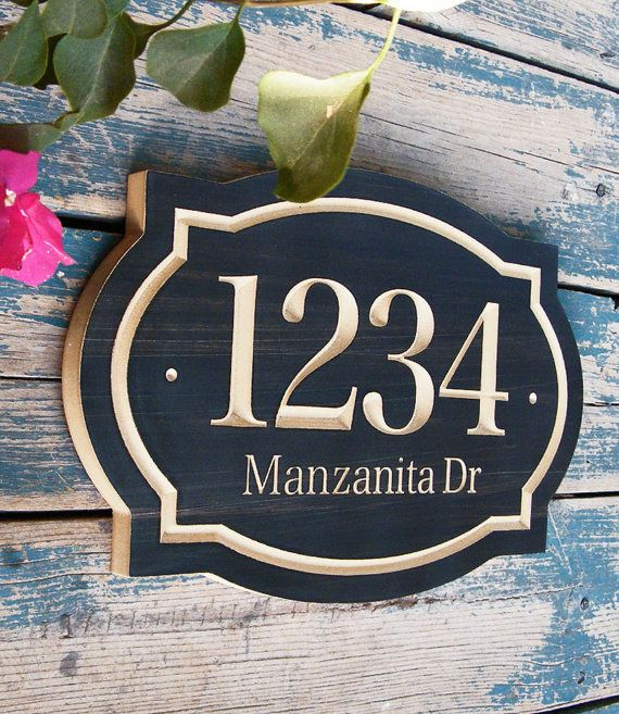 Elegant and classic house number engraved plaque made in