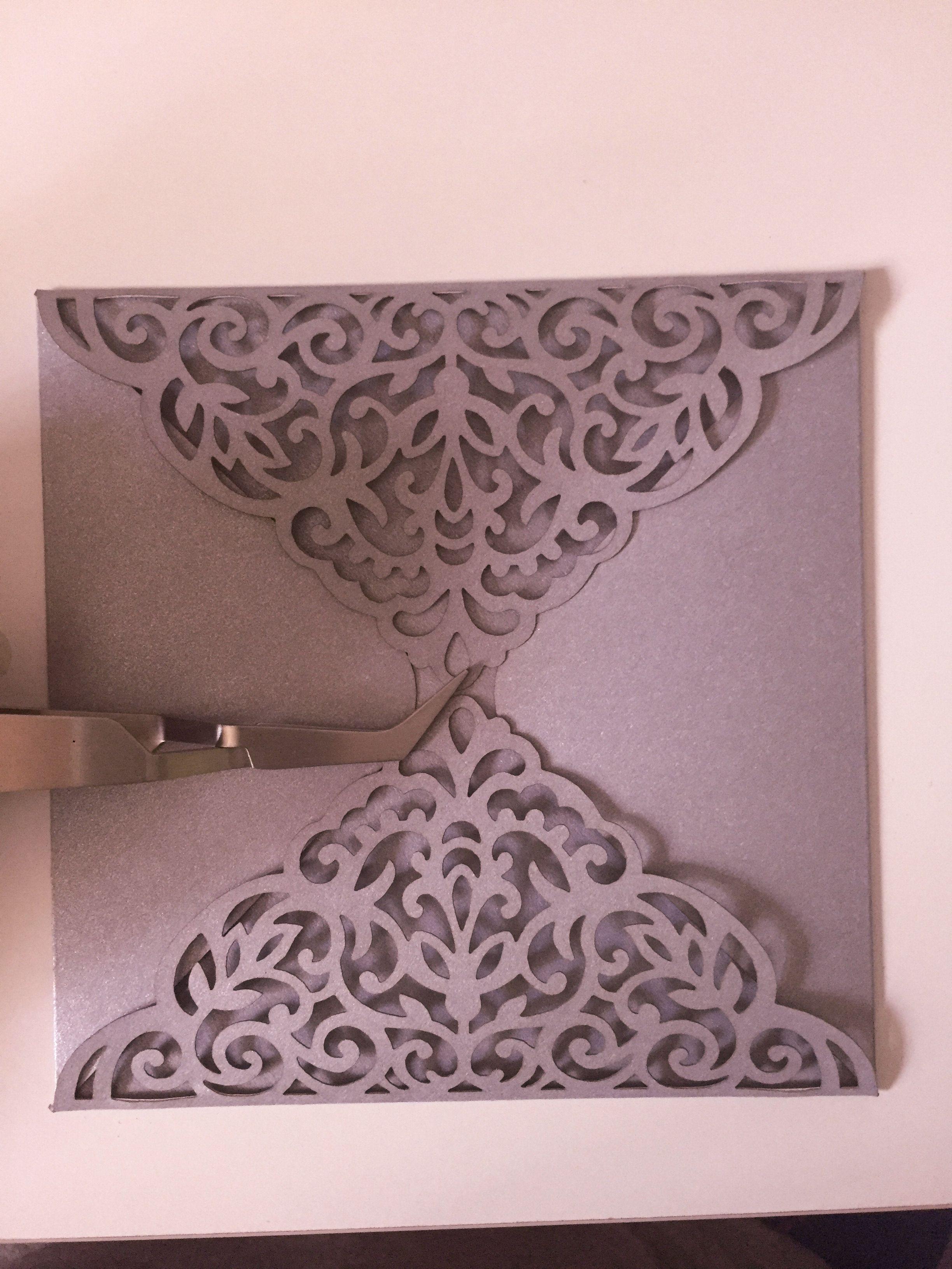 Laser Cut Card Pattern Wedding Invitation Fourfold Envelope X - Laser cut wedding invitation templates