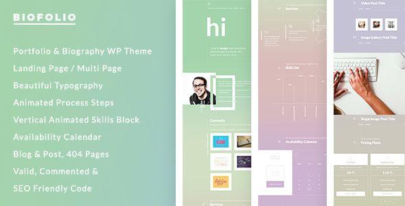 BioFolio - Biography, Resume \ Portfolio WordPress Theme - wordpress resume themes