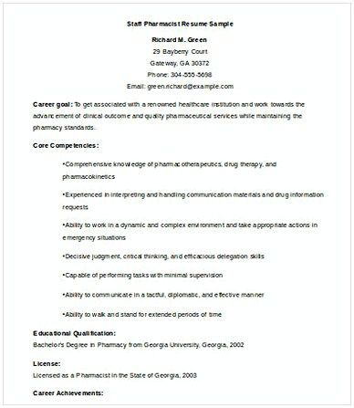 Pharmacist Resume Template Staff Pharmacist Resume  Resumes  Pinterest  Pharmacy And Template