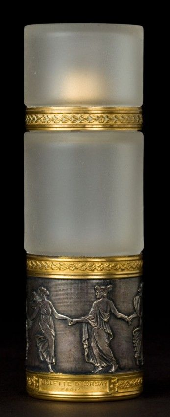 R. Lalique and Baccarat Frosted Glass and MetalViolette D'Orsay Perfume Bottle and Cover Circa 1912