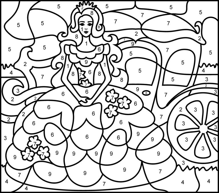 Princesse Printable Color by Number Page Hard