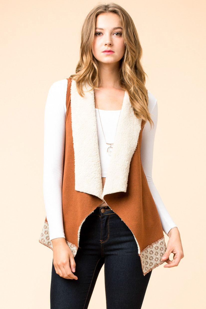 Hyfve open front sherpa vest with lace trim