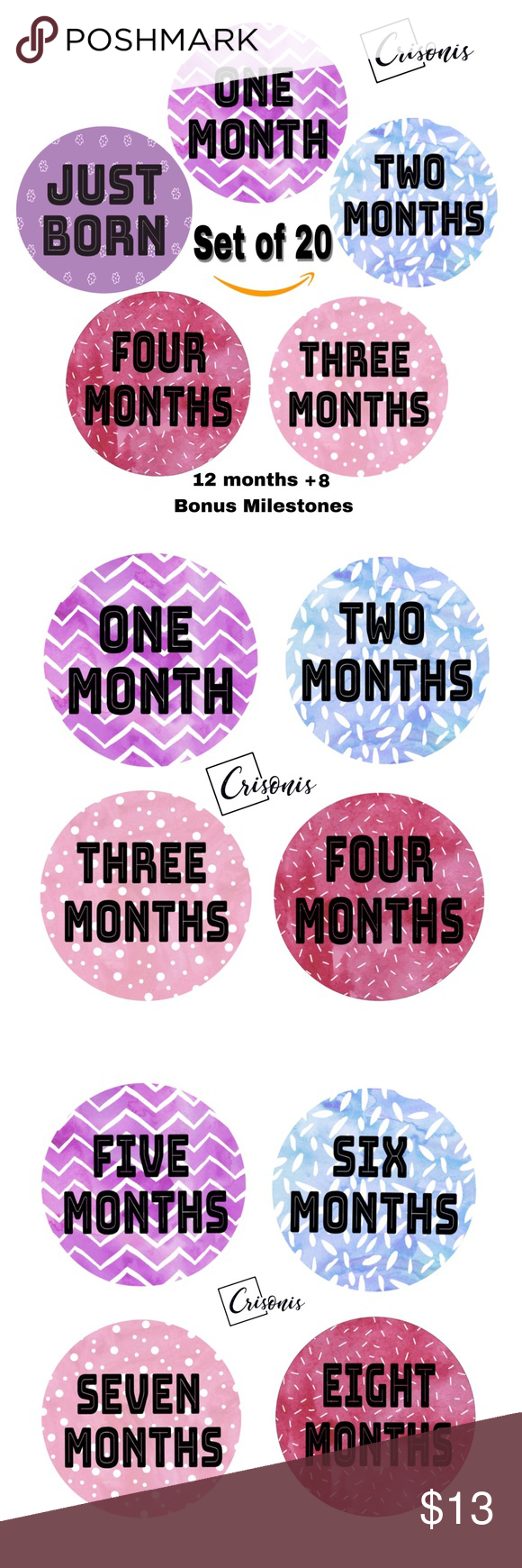 Baby monthly milestone stickers boutique my posh picks pinterest