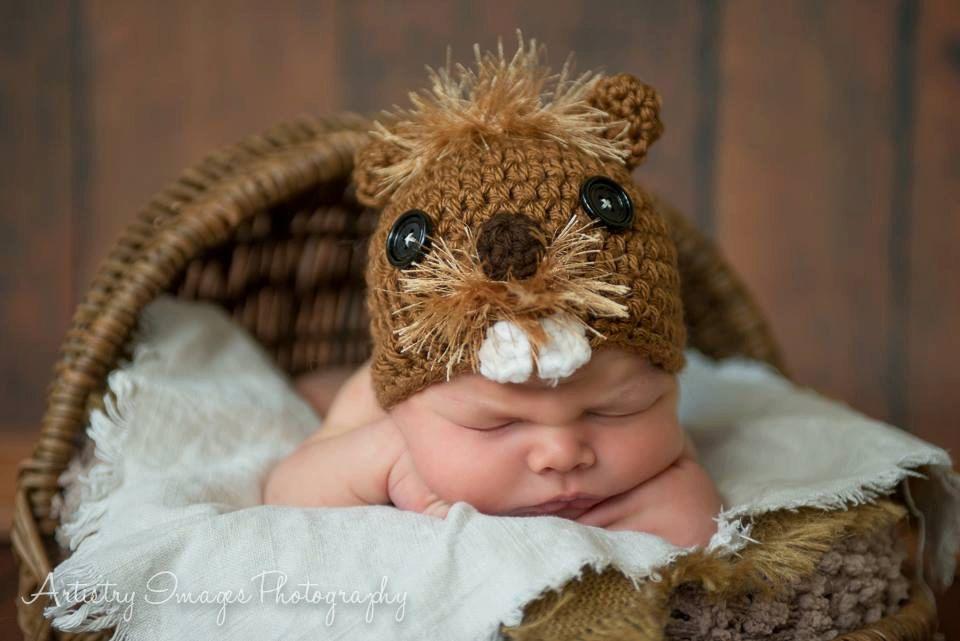 Beaver Hat Size Newborn 3m 6m Baby Crochet Cap by NitaMaesGarden ...