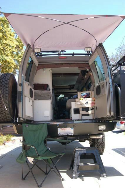 Rear Diy Awning Camper Van Conversion Diy Truck Camping