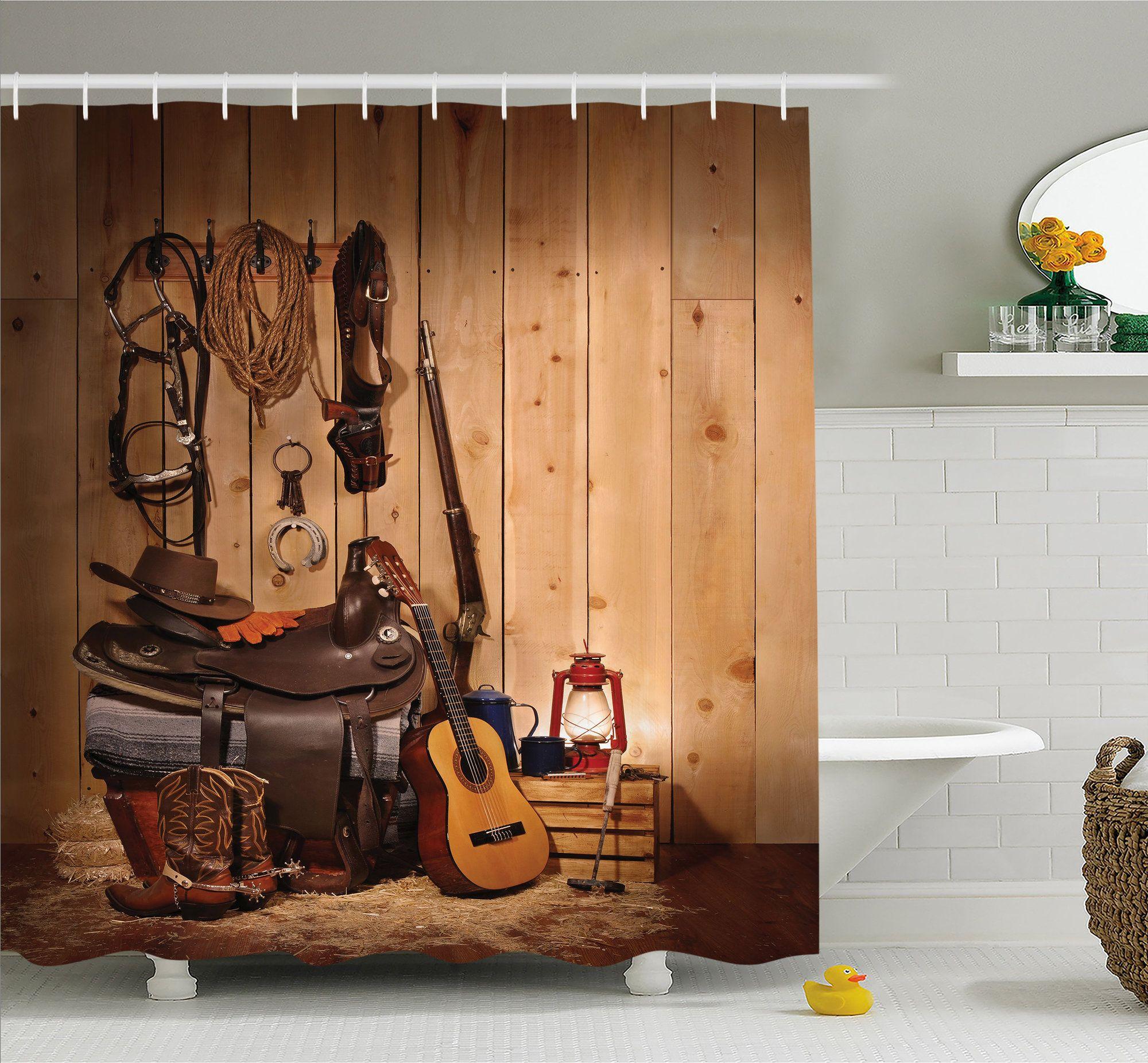 180cm fabric western cowboy shower