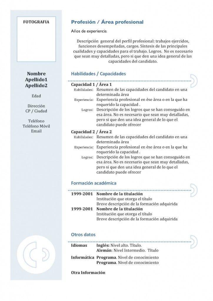 Los mejores formatos de currículum clásico | Modelo Curriculum ...