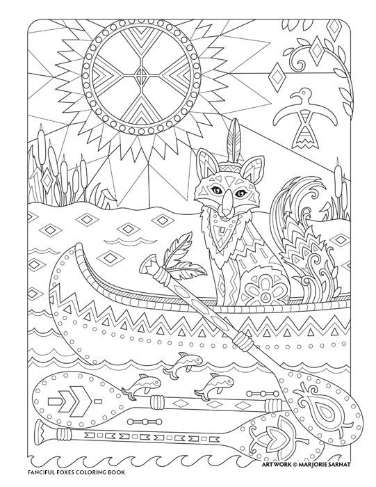 Creative Haven Fanciful Foxes Coloring Book By Marjorie Sarnat Native American