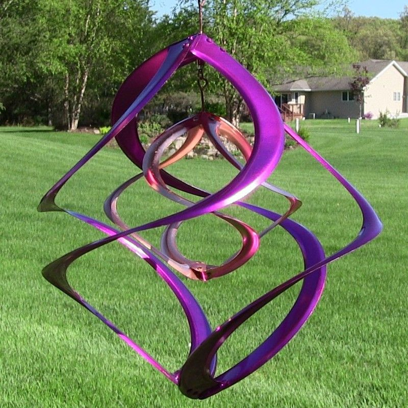 Purple Hanging Double Spiral Wind Spinner 14 With Images
