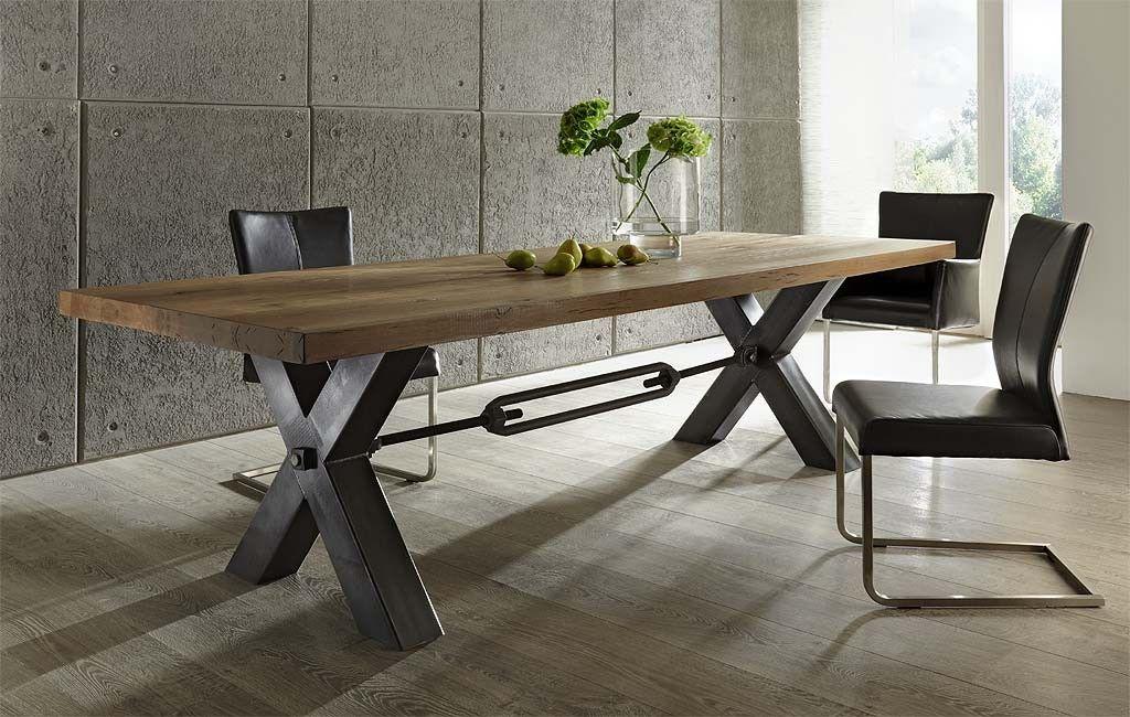 Tisch Rustikal esstisch rustikale wildeiche stahlgestell 180 300 cm