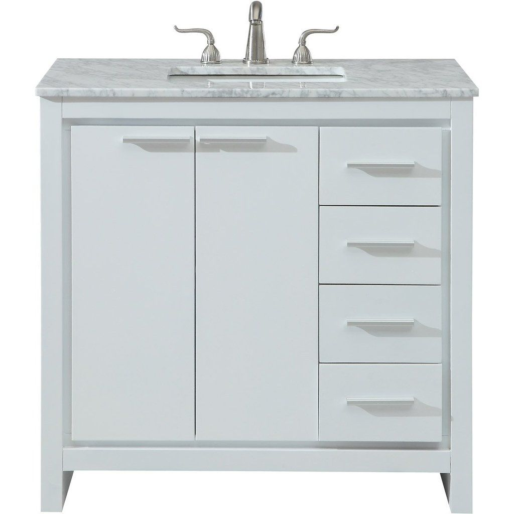Filipo 36 X 35 4 Drawer 2 Door Vanity Cabinet White Finish Vf12836wh Single Bathroom Vanity Elegant Decor Bathroom Vanity