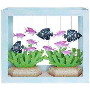 Paper Aquarium: Koran Angelfish/Purple Anthias,Animals,Paper Craft,Waterweed,seagrass,coral,fish,sea,Moving,Aquarium