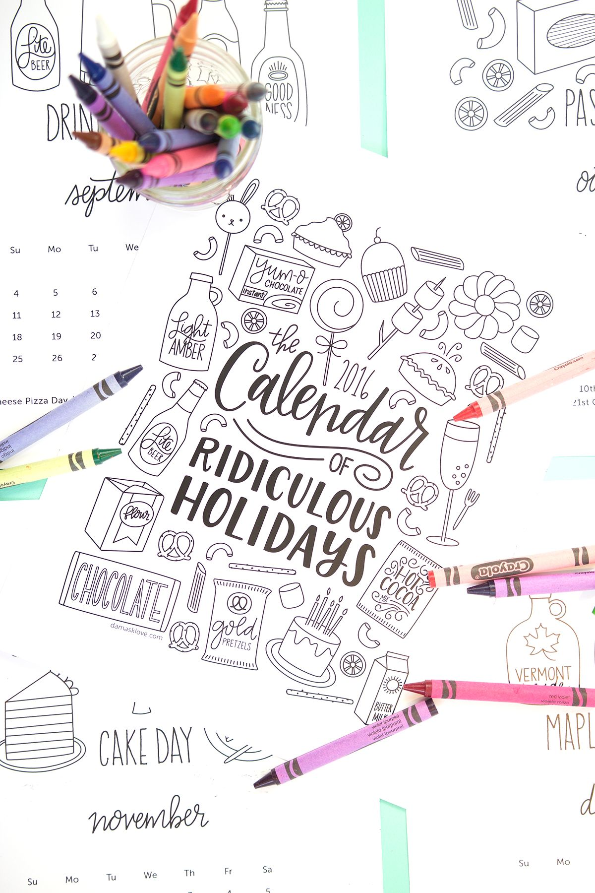 Free Printable Coloring Calendar Pages | Lettering | Pinterest ...