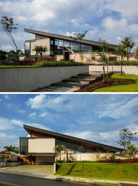 A Large Sloping Roof Is A Prominent Feature Of This New House In Brazil Architecture Contemporary Building House Exterior