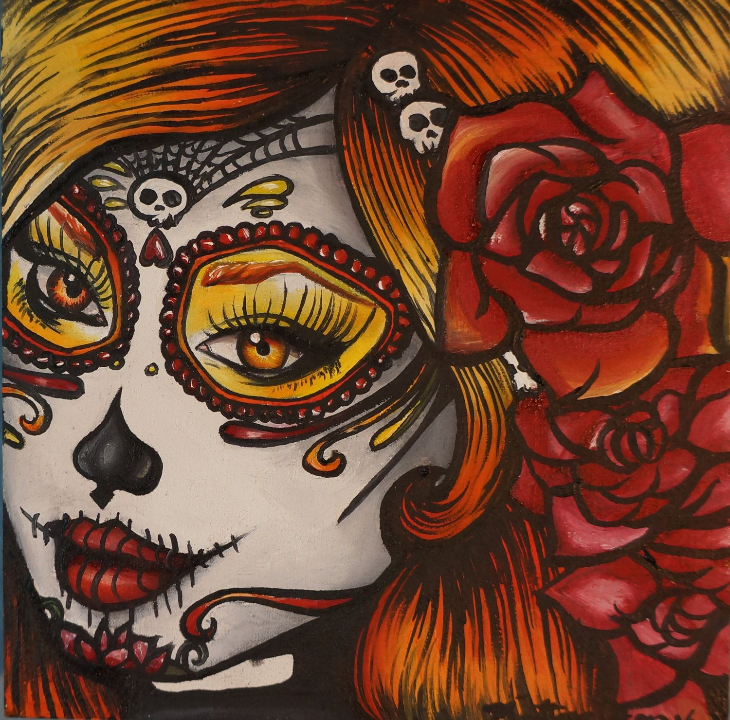 Day of the Dead  Art Rockabilly Pin Up girl Hair Dia De Los Muertos  Lowbrow Tattoo art Print 8 by 8.