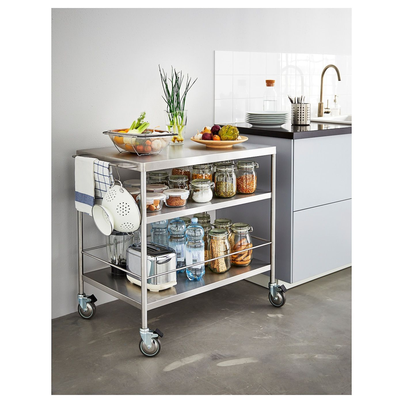 Flytta Kitchen Cart Stainless Steel Ikea Cart Flytta Ikea Kitchen Stainless Steel Portable Kitchen Island Portable Kitchen Ikea Kitchen Furniture