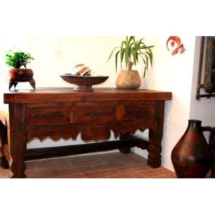 Console meuble en pin, mobilier mexicain en boutique ou \