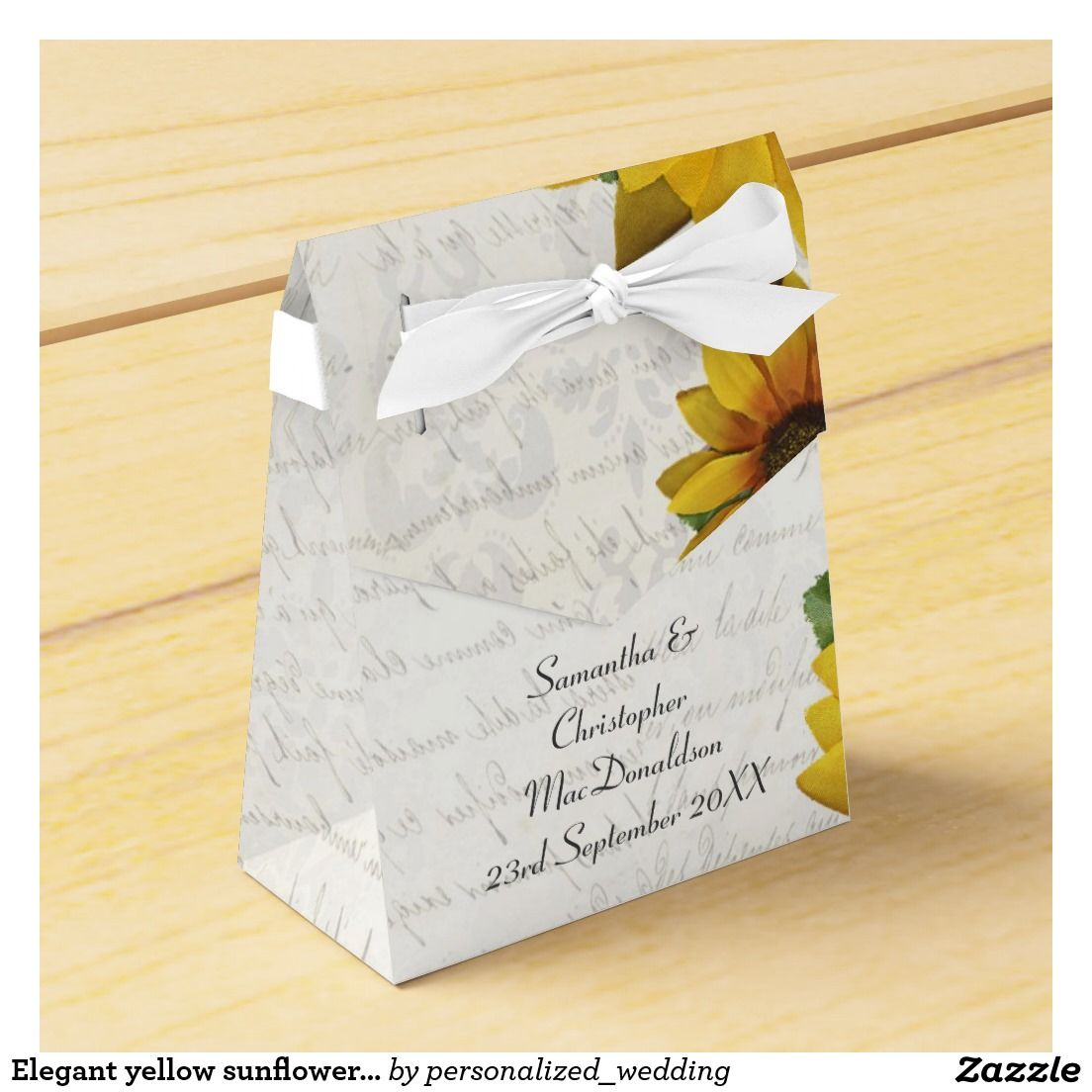 Elegant yellow sunflower country floral wedding party favor boxes ...