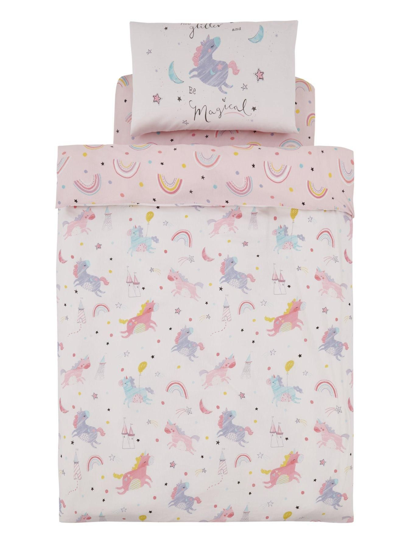 Catherine Lansfield Magical Unicorns Cotton Rich Duvet Cover and Pillowcase Set Bring a fairy tale