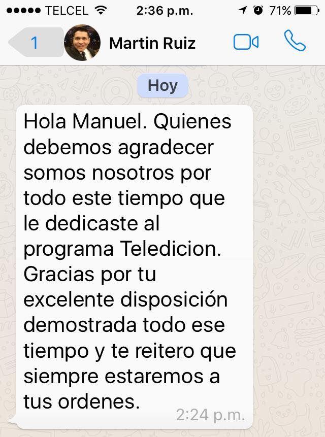 Gracias Martin (Productor General Televisa Hermosillo), esto hizo mi día!!! ((se que no debo de subir lo que me escriben por whats, pero no me aguante las ganas y me gano la emoción, estamos en face pero omitiré la etiqueta)), me avente 5 años con un excelente equipo de producción!!! bv!!! #chefcms #televisa #televisahermosillo #tvhost #hermosillo