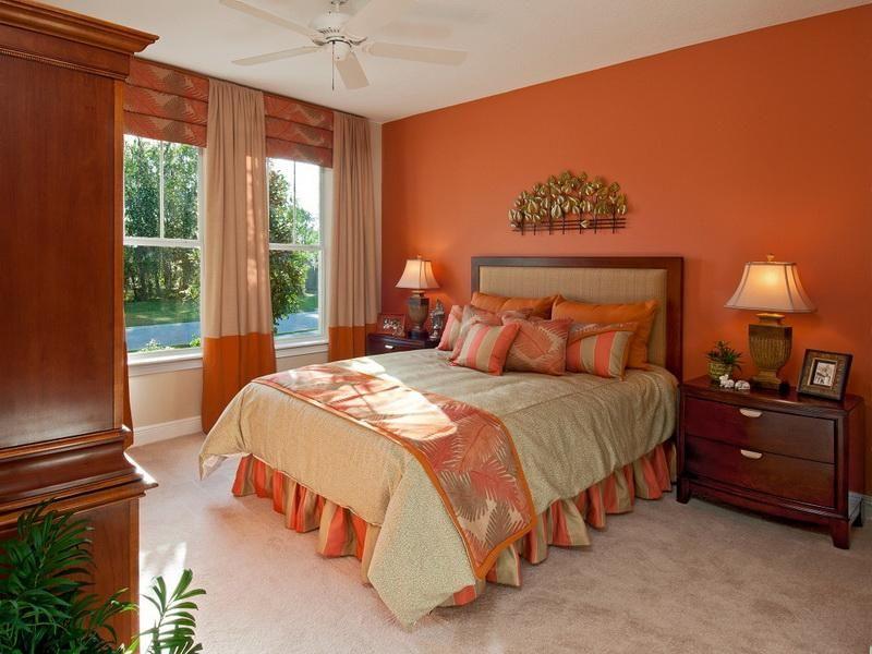 Orange Bright Paint Colors for Romantic Bedrooms with Unique