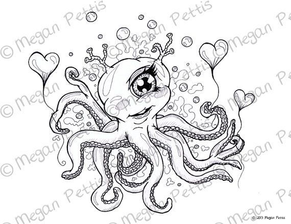 Cycloptopus Coloring Book Page Adult Coloring Cyclops Octopus